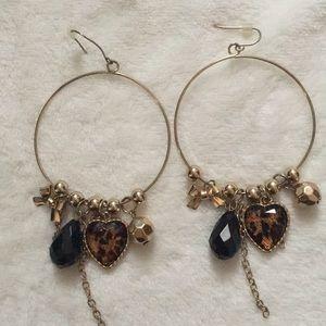 Leopard dangle hoop earrings